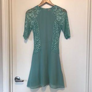 ASOS mint green 3/4 lace sleeve tea dress, US 2